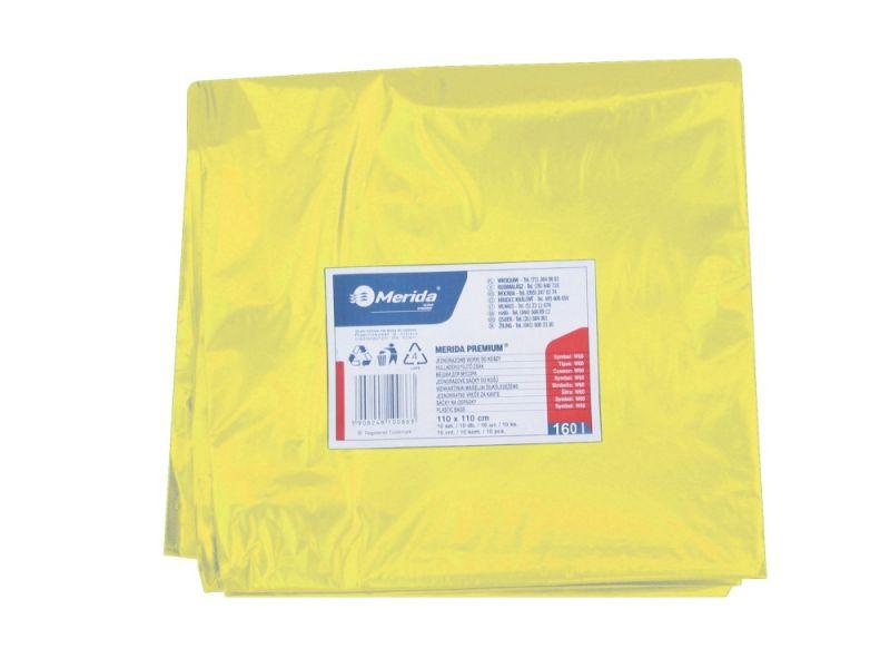 Merida Pytle na odpadky LDPE, 40 mi,90x110cm,160 l, žluté 10ks/b