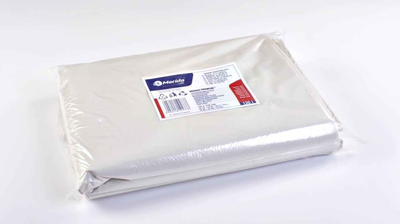 Merida Pytle na odpadky LDPE, 38 mi, 70x110cm,120 l,bílé 50 ks/b