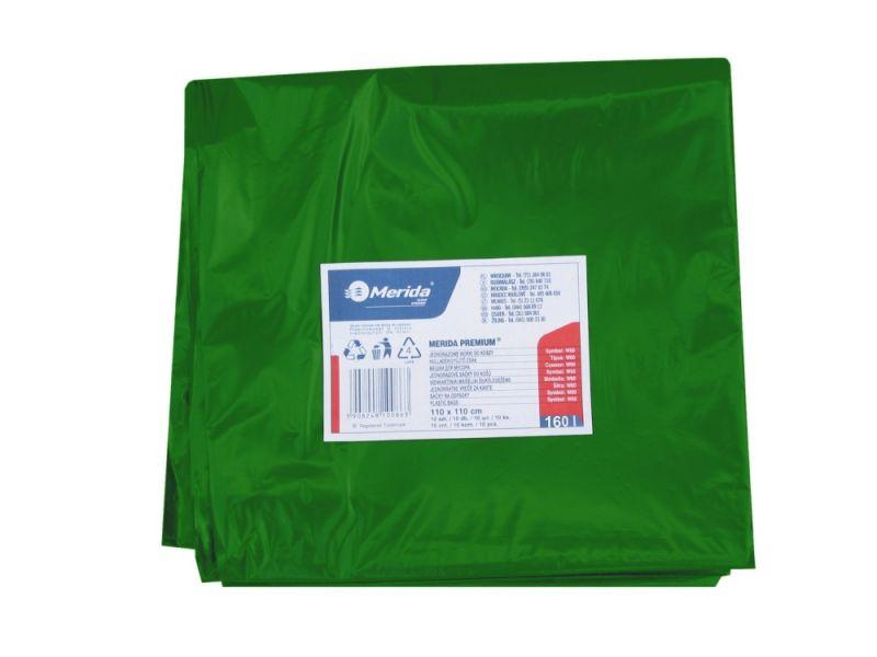 Merida Pytle na odpadky LDPE, 40 mi,90x110cm,160 l, zelené 10ks/b