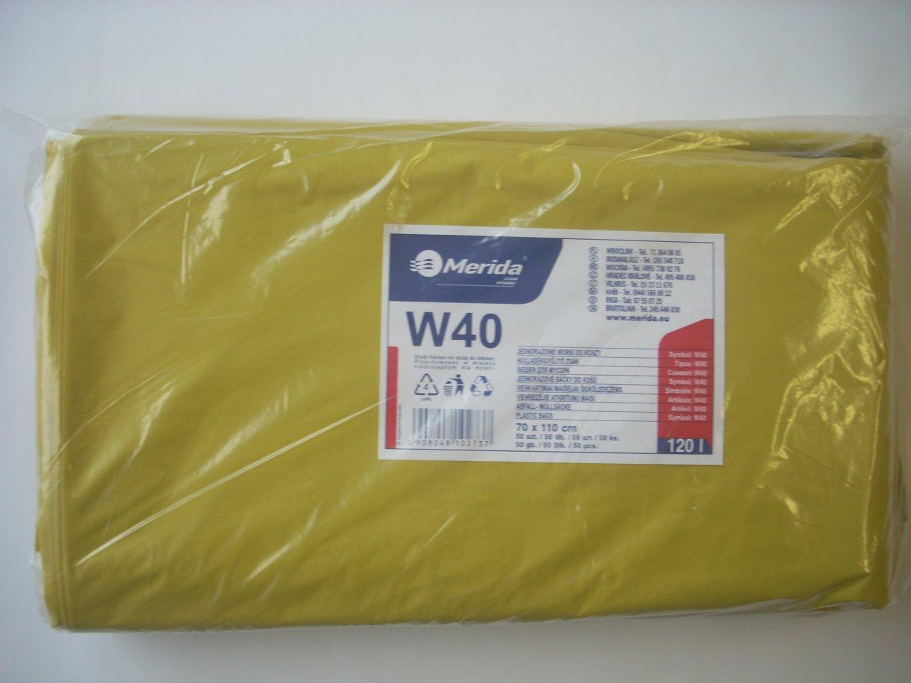 Merida Pytle na odpadky LDPE, 38 mi, 70x110cm,120 l,žluté 50 ks/b