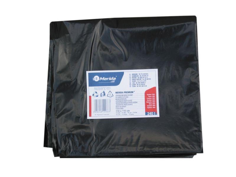 Merida Pytle na odpadky LDPE, 50 mi,110x110cm,240 l, černé 10ks/b
