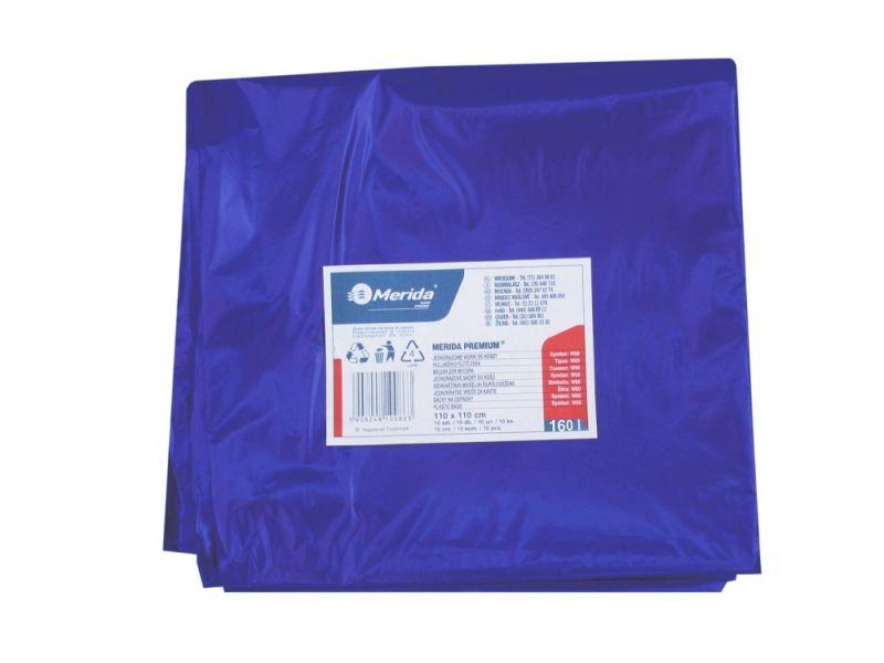 Merida Pytle na odpadky LDPE, 40 mi,90x110cm,160 l, modré 10ks/b
