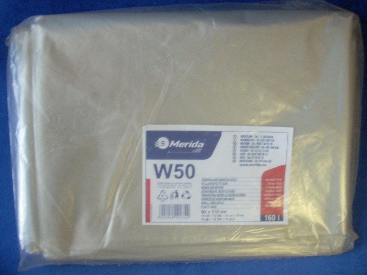 Merida Pytle na odpadky LDPE, 40 mi,90x110cm,160 l, čiré 10ks/b