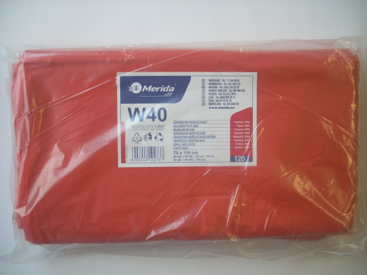 Merida Pytle na odpadky LDPE, 38 mi, 70x110cm,120 l,červené 50 ks/b