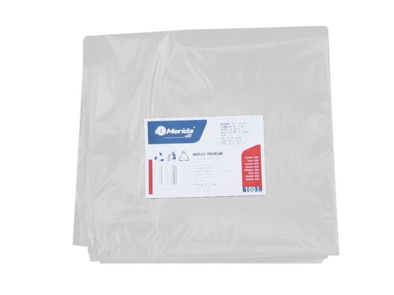 Merida Pytle na odpadky LDPE, 40 mi,90x110cm,160 l, bílé 10ks/b