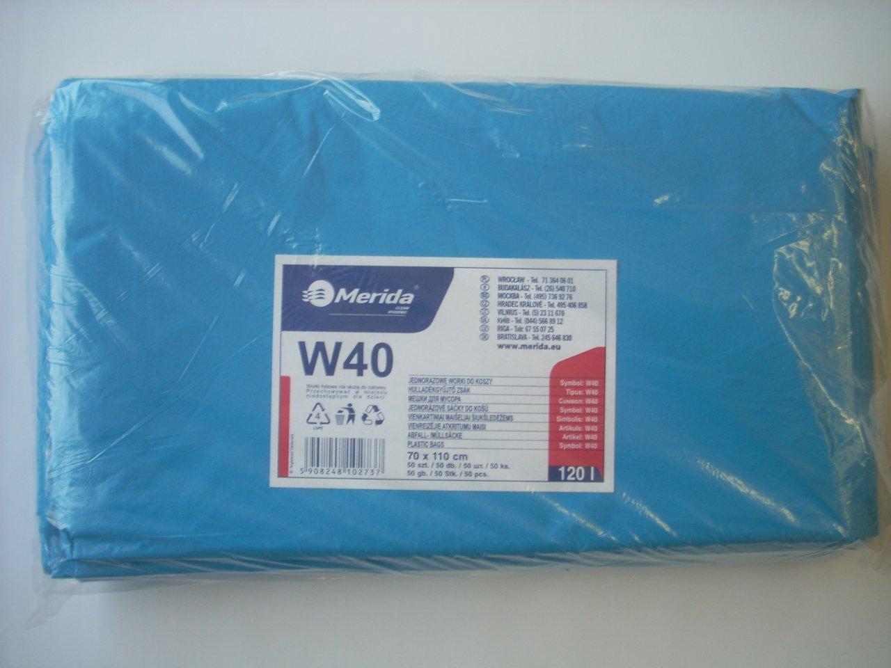 Merida Pytle na odpadky LDPE, 38 mi, 70x110cm,120 l,modré 50 ks/b