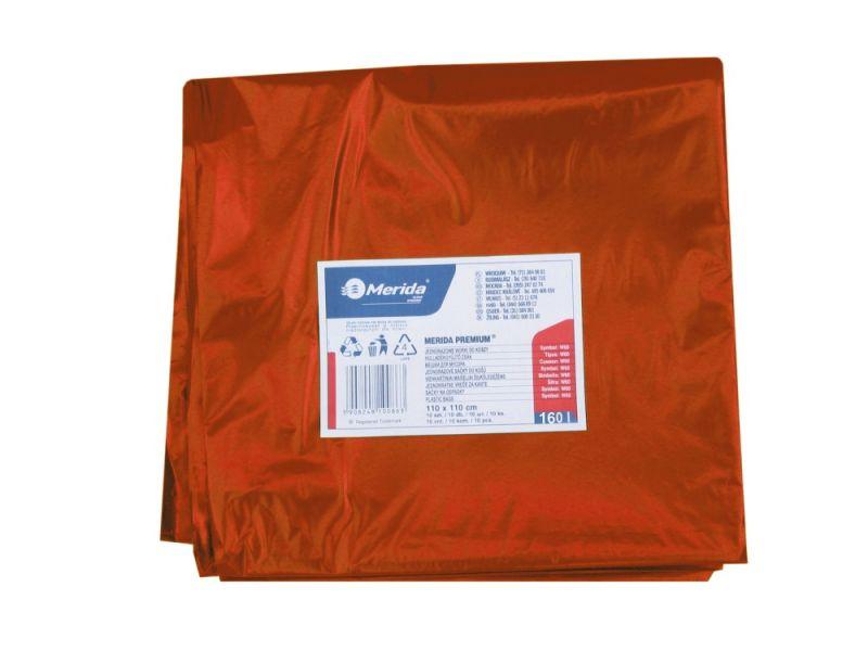 Merida Pytle na odpadky LDPE, 40 mi,90x110cm,160 l, červené. 10ks/b